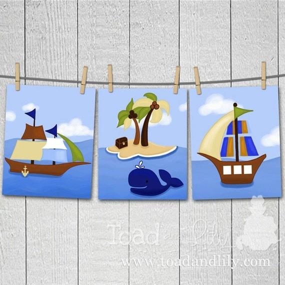 AhOy MaTeY Set of 3 Boys Pirate Bedroom 8x10 ART PRINTS