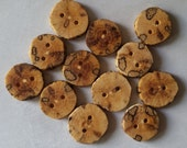Handmade Wooden Buttons, Spalted Oak Wood, 3/4 Inches, Set of 12