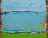 Blue Green Abstract Landscape Painting, Contemporary Art Original Acrylic, 24 x 24 inches
