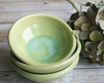 Prep Bowls, Set of Three Small Green Kitchen Bowls Handmade Ceramic Bowls, Green Pottery Ready to Ship Green Pottery Made in USA