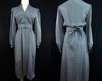 Striped Secretary Dress V Neck Long Sleeves 1970s Belted Silk Small Medium Green Brown