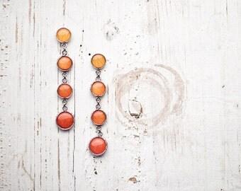 Orange rose earrings, Beauty gift for her, Orange earrings, Ombre earrings, Flower jewelry, Botanical jewelry, Orange flower long earrings
