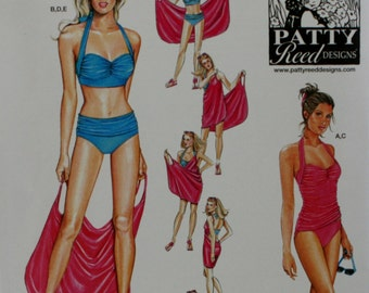 Simplicity 1374 Misses Swimsuits and Beach Cover-up Sewing Pattern New / Uncut Size 6, 8, 10, 12, 14