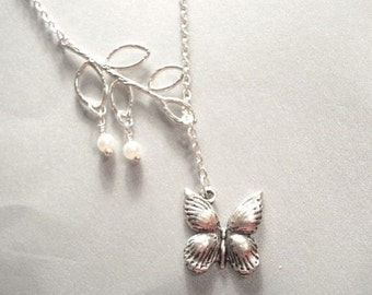 Leaf Necklace Butterfly Necklace Silver Leaf Pearl Necklace Pearl Lariat Necklace Silver Leaf Necklace Bridesmaid Necklace