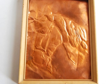 Vintage Copper Horse Wall Art