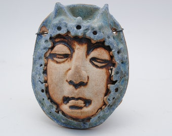 ceramic mask sculpture art clay face fine art wall decor