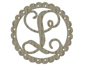 Unfinished Wood Scallop Frame with Double Holes for ribbons Vine Monogram in 17.5 x 17.5 inch Door Hanger