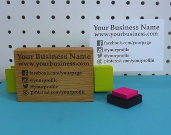 Business Card Rubber Stamp - Social Media Stamp - Business Stamp