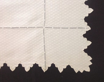 Square Tablecloth Notched Edges Triple Monogram Vintage