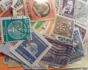 100 Vintage Postage Stamps stocking stuffer secret santa small gifts