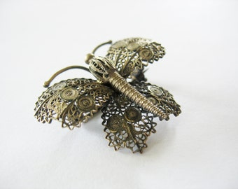 Filigree Butterfly Brooch Cannetille 1950's Steampunk Style