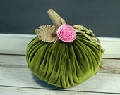 Fabric Pumpkin Plush Velvet Rustic Cottage Chic Fall Green and Pink
