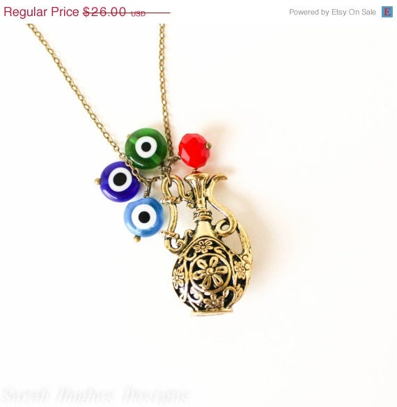 Genie Bottle Necklace: CLEARANCE SALE Genie Bottle And Evil Eye Necklace By Ardorfire