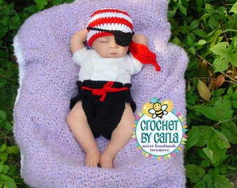 Baby Pirate Set, Photo Prop, Halloween Costume,  Newborn to 3 Months