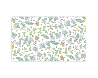 Spring Branch Pattern - Little Notes - Set of 10 Enclosure Cards, Envelopes, Gold Closure Stickers - Simple - Vintage Inspired - (LN418)