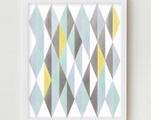 Abstract Print Wall Decor, Norwegian Digital Print Geometric Pattern Home Decor, Nordic Scandinavian Mid Century Vintage Modern Abstract Art