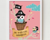 Owl Art Print, Owl Poster, Boys Bedroom Art Wall Decor Giclee Print, Blue Kids Art Decor, Boys Bedroom Art Print & Positive Pirate Quote