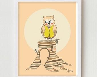 Owl Print, Woodland Decor, Owl Illustration Art Print, Woodland Nursery Print Wall Decor, Kids Art, Childrens Art Nursery Decor Wall Art
