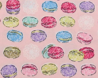 2621A - Sweet Macaroon Fabric in Pink, Afternoon Tea Time,  Sweets Fabric , Macaroon Fabric