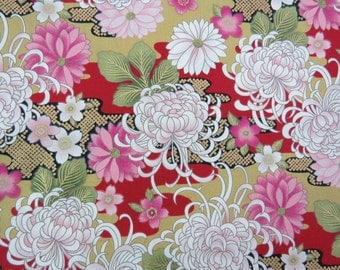 2629A -- Pretty Flowers Blossom with Gold Print in Red, Daisy, Mum, Peony, Sakura, Flower Fabric