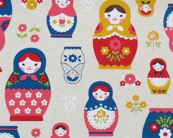 2632B -- Retro Kawaii Matryoshka Doll Fabric in Yellow/Red Combo, Russian Doll Fabric, Babushka Fabric, Doll Fabric