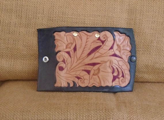 Hand Carved Key Case in Black, Burgundy and Natural