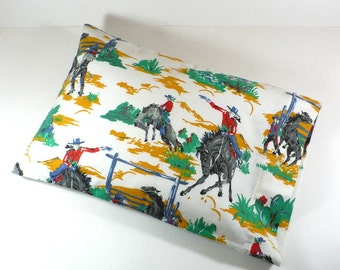 Pillow Sham, Western, Cowboy, flannel, travel size, 12 x 18 inches, Rare OOP fabric, Travel pillow