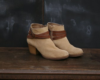 Vintage Suede Leather Booties With Straps Womens 7.5 From Nowvintage on Etsy
