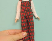 SALE: Christmas overalls & shirt, Blythecon Vancouver Leftover, red, green, trees
