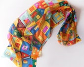 Hand painted silk scarf Crazy Town/ Hundertwasser scarf/ Architecture Lovers gifts/ Bright summer scarf/ Long fashion scarf/ Holidays gifts