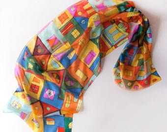 Hand painted silk scarf -Crazy Town/ Hundertwasser scarf/ Architecture Lovers gifts/ Bright summer scarf/ Long fashion scarf/ Holidays gifts