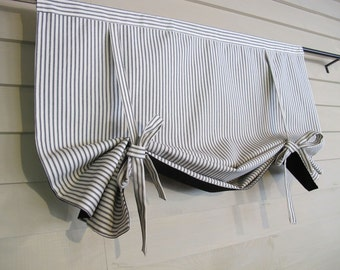 Black 72 Inch Long Cotton Ticking Swedish Roll Up Shade Stage Coach Blind Tie Up Curtain Swag Balloon