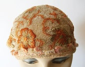 1920's Vintage Embroidered Floral Flapper Women's Skull Cap Hat