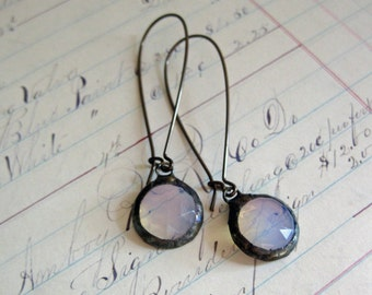 White Opalescent Earrings Stained Glass Jewelry