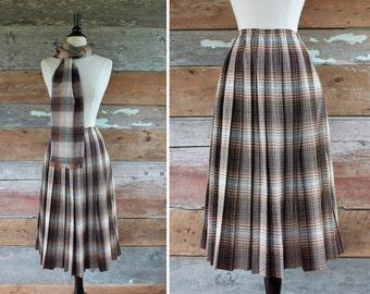 "1960s pleated wool skirt & scarf / 60s brown plaid wool skirt / waist 28"""