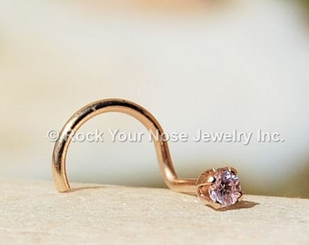 Pink Zirconian Nose Stud in Gold  - CUSTOMIZE