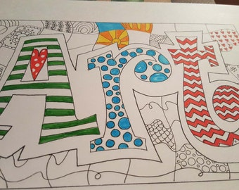 Printable Drawing |Art Letter Design | Coloring page | Digital Download | Digital Print | Black and White Print | Word Art