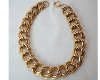 1980s Gold Plated Heavy Double Layer Open Link Chain Necklace