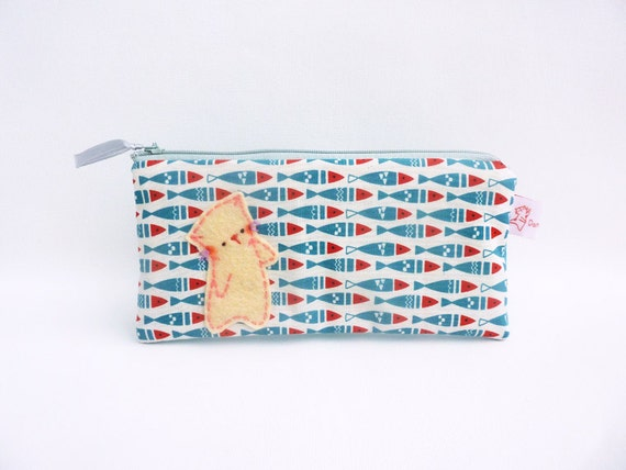 Cat fish pencil case fabric pencil case school purse for Fish pencil case