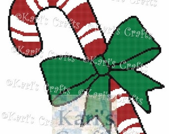 Candy Cane With Bow Afghan Blanket PDF Pattern GRAPH ONLY - Instant Download
