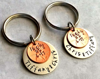 Couples Key Chains-Lucky Us-HandStamped Penny-Keychain Set-Wedding Date-Engagement-Couples Anniversary Gift for Him/Her-stamped Penny Gifts