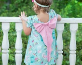 Peacock cotton fabric with pink bow dress, party dress, birthday dress