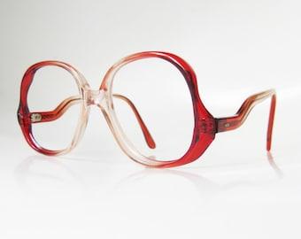1970s Avant Garde Eyeglasses Crimson Ruby Red Glasses Womens Ladies Girls Boho Chic Bohemian Indie New Wave Sunglasses Sunnies