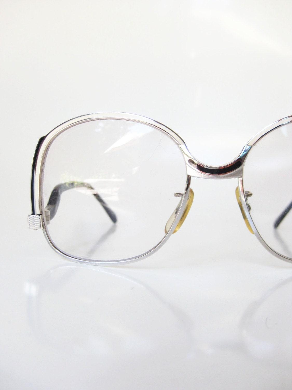 ccdb0f8ffe4 Vintage Tura Glasses 1970s Eyeglass Frames Deadstock Silver Metallic Black  Obsidian Womens Ladies Boho Chic Bohemian