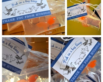1 Boy Organic Soap Bathtub Party Favor County Fair Carnival Circus Birthday Prize Gold Fish Soap in a Bag with Prize Card tied with Raffia