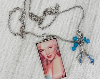 Marilyn Monroe Necklace - Glass Tile Pendant Necklace - Removable Charm - Marilyn Monroe Glass Tile Pendant with High Heel Charm
