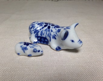 Tiny Pig Figurine Pair Blue and White Miniature