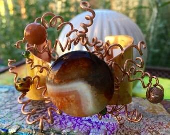 Whimsical and Bold OOAK BOHO Copper and Druzy Quartz Cuff Bracelet