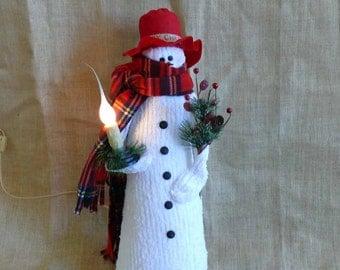 Lighted Large Fabric Snowman Winter Joe