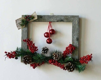 Shiny Red Jingle Bells Weathered Barn Wood Frame Wall Hanging Wreath